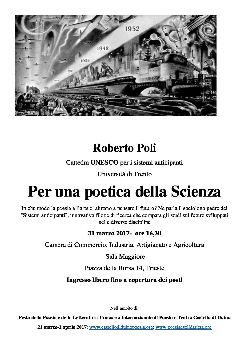 Lecture del prof. Roberto Poli cattedra UNESCO per i sistemi anticipanti